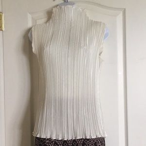 Tops - Vintage accordion pleat sheer chiffon blouse